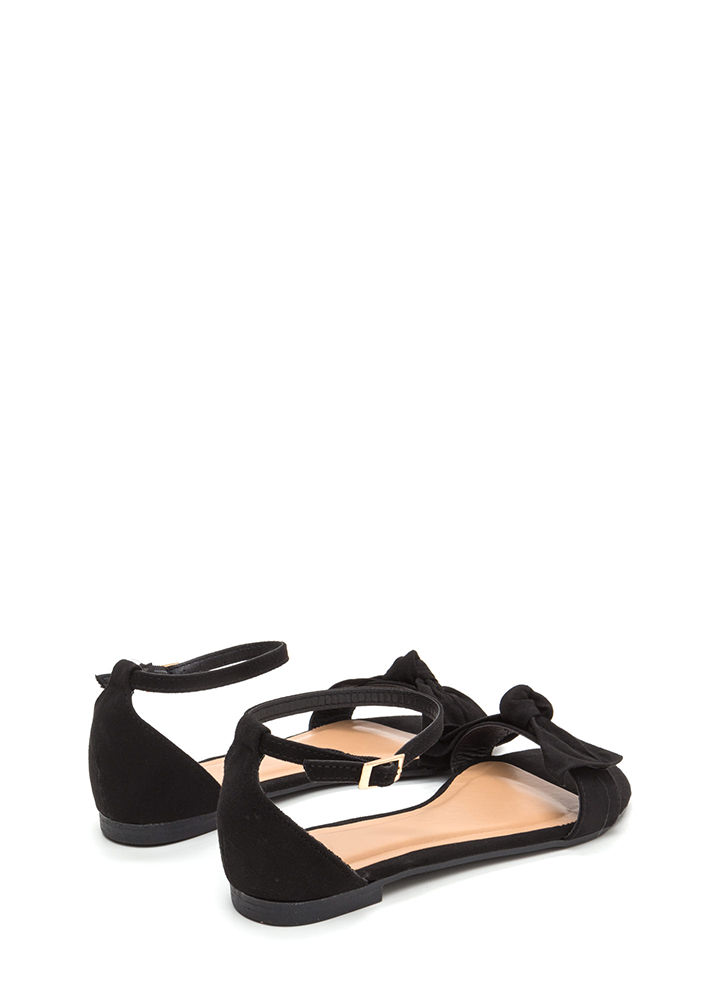Bow For Gold Faux Suede Sandals BLACK