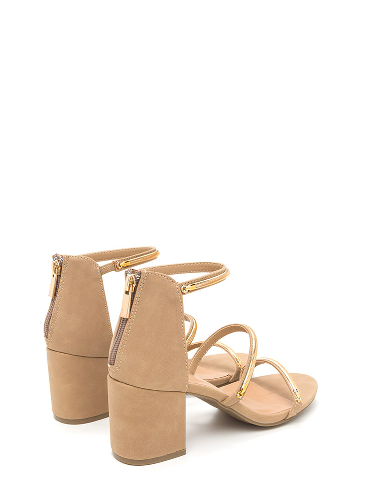 Oh My Posh Strappy Chain Block Heels NATURAL