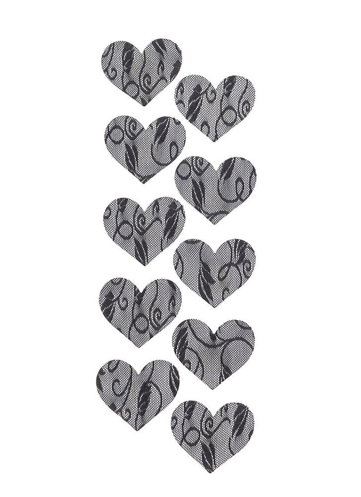 Covert Operation Lace Heart Pasties BLACK (Final Sale)