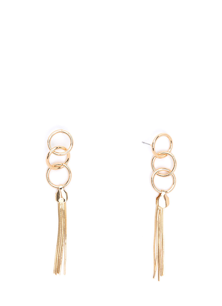 Three-Ring Circus Tassel Earrings GOLD