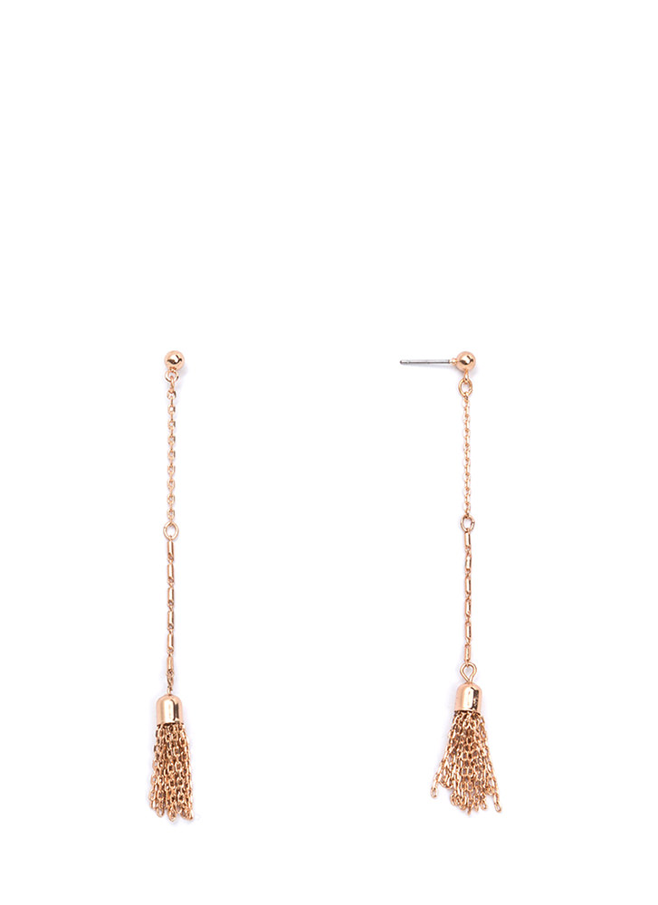 Off The Chain Tasseled Earrings ROSEGOLD