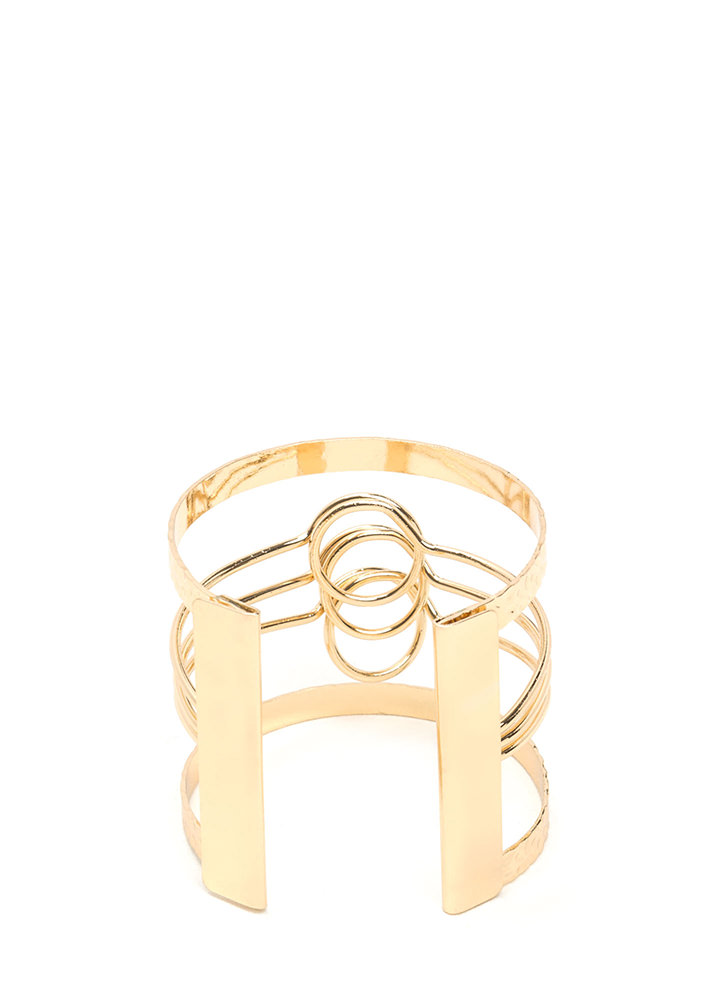 Triple Time Textured Caged Cuff GOLD