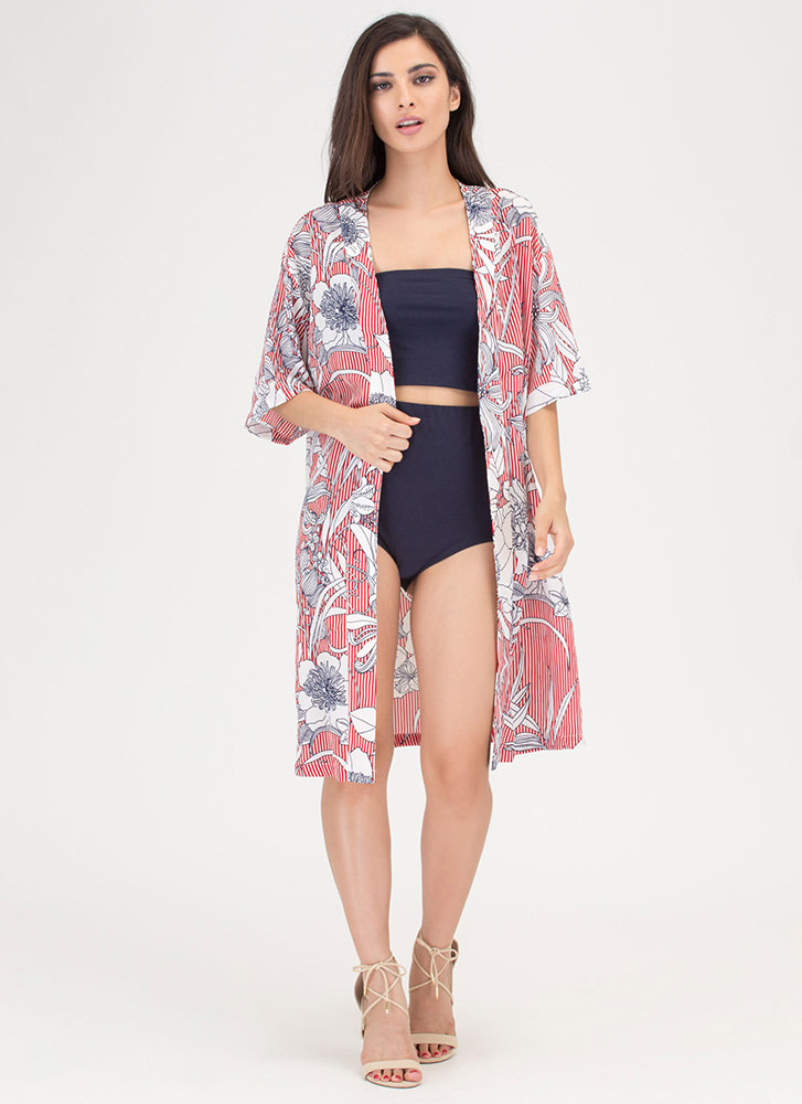 More Flower To You Printed Kimono RED