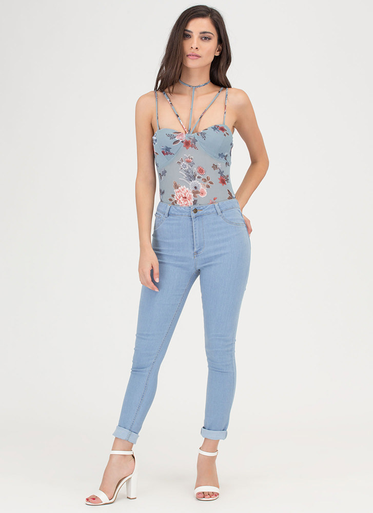 Floral Imagery Strappy Thong Bodysuit BLUE