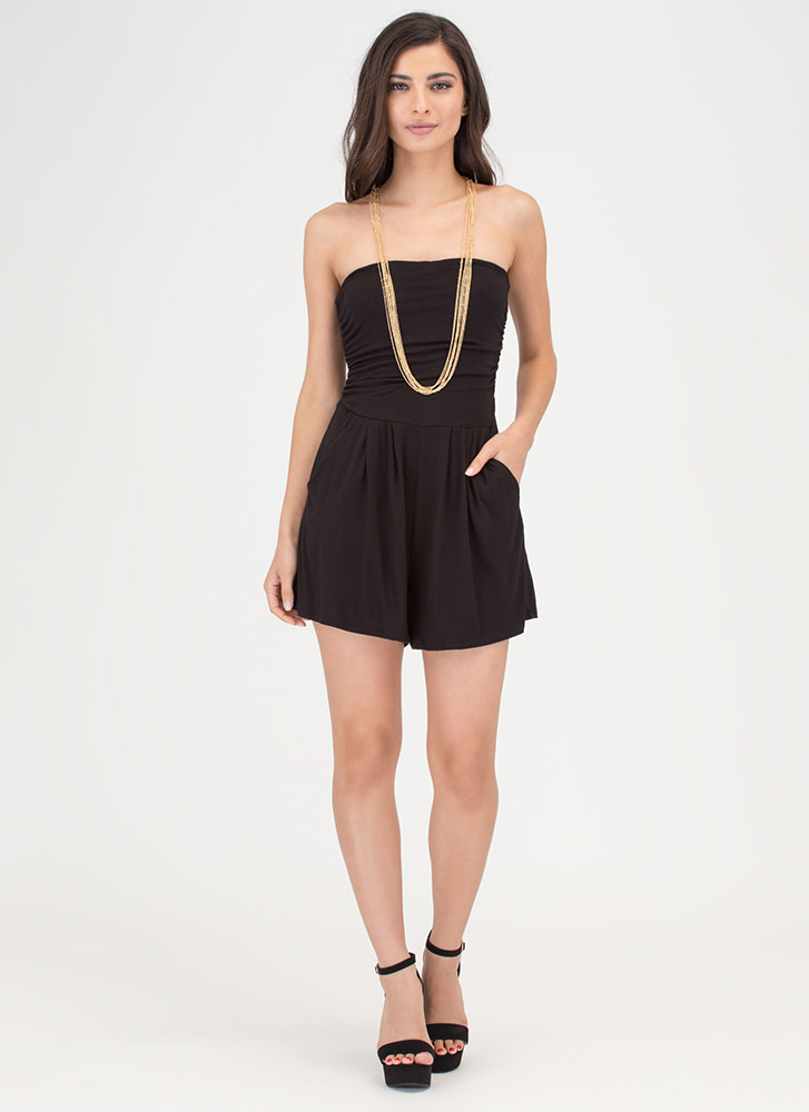 Ride The Tube Strapless Draped Romper BLACK