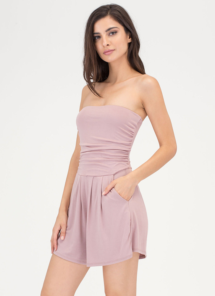 Ride The Tube Strapless Draped Romper MAUVE
