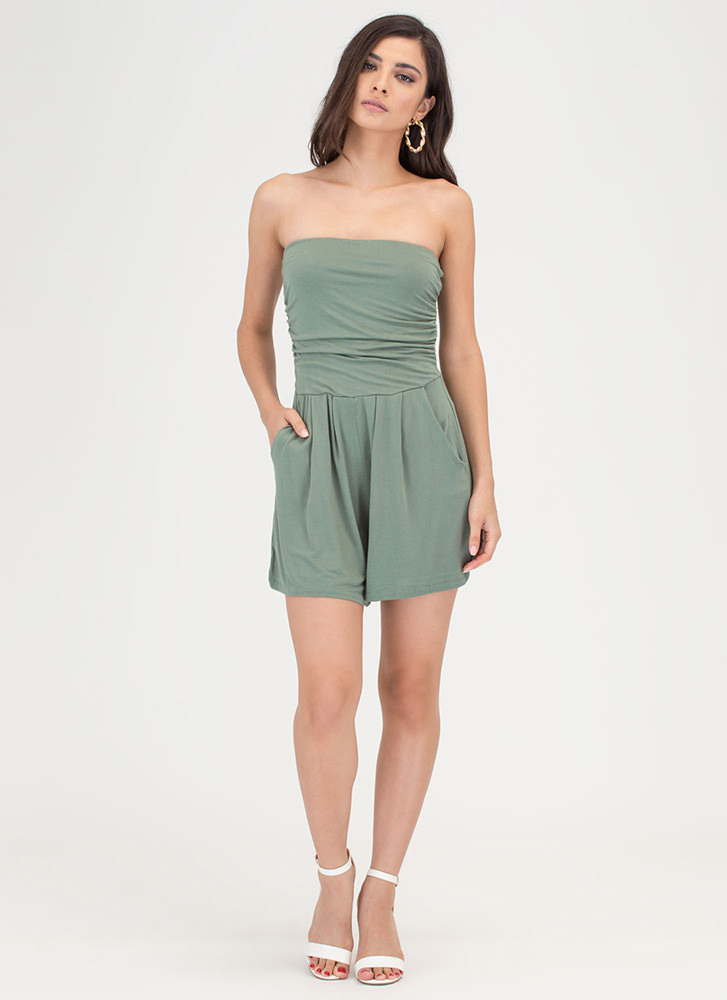 Ride The Tube Strapless Draped Romper SAGE
