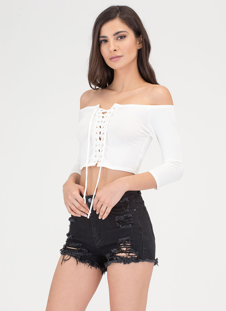 On And Off-Shoulder Lace-Up Crop Top WHITE