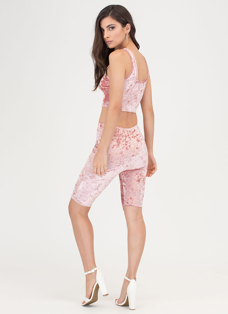 Crushed It Velvet Top And Shorts Set PINK