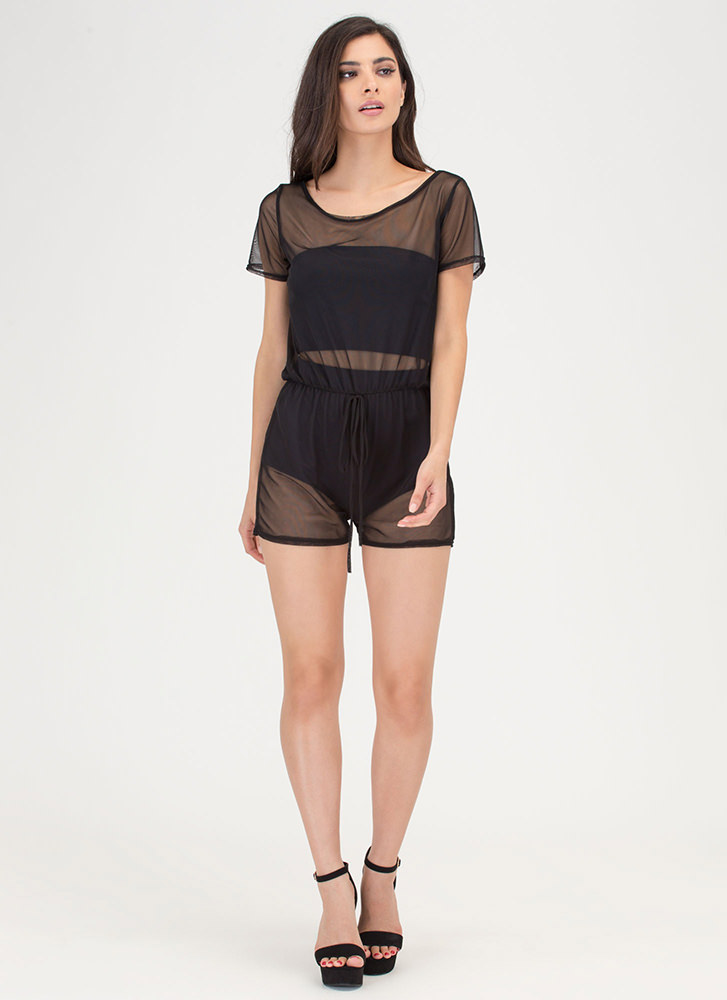 See-Thru It All Sheer Mesh Romper BLACK