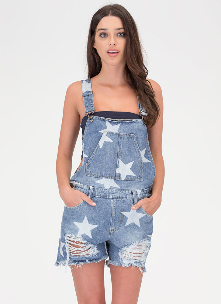 Star Power Distressed Denim Shortalls BLUE