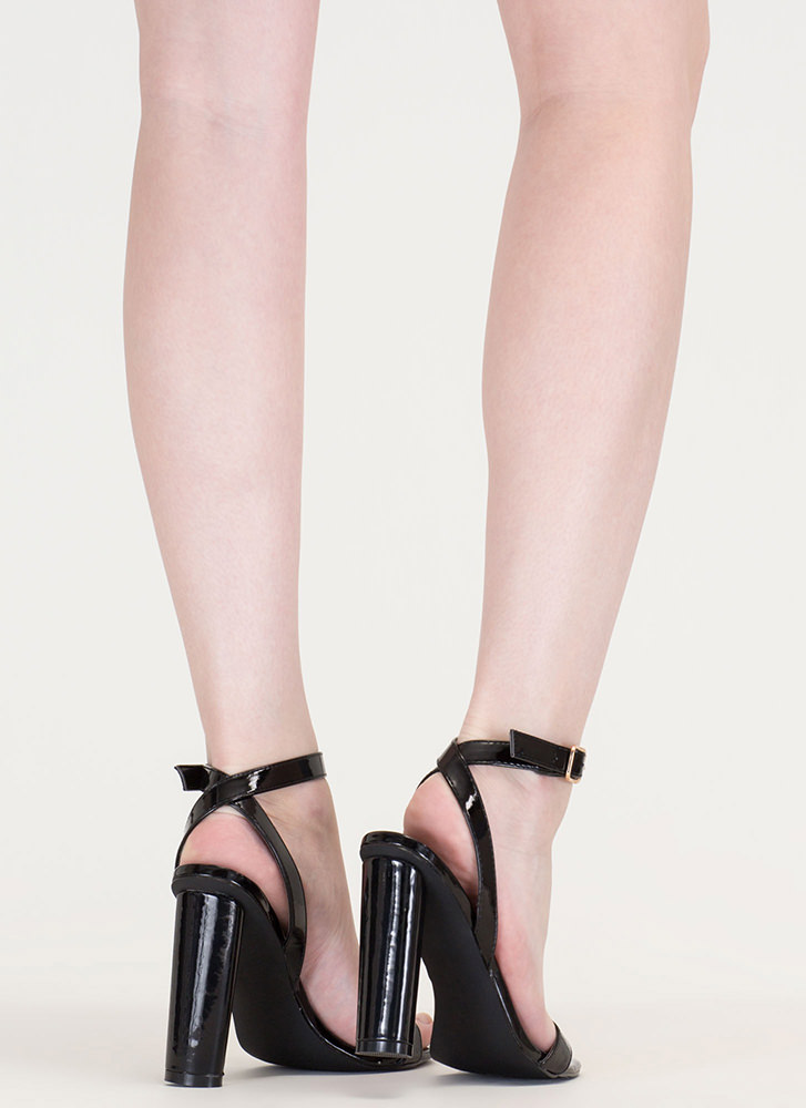 Tres Chic Strappy Faux Patent Heels BLACK