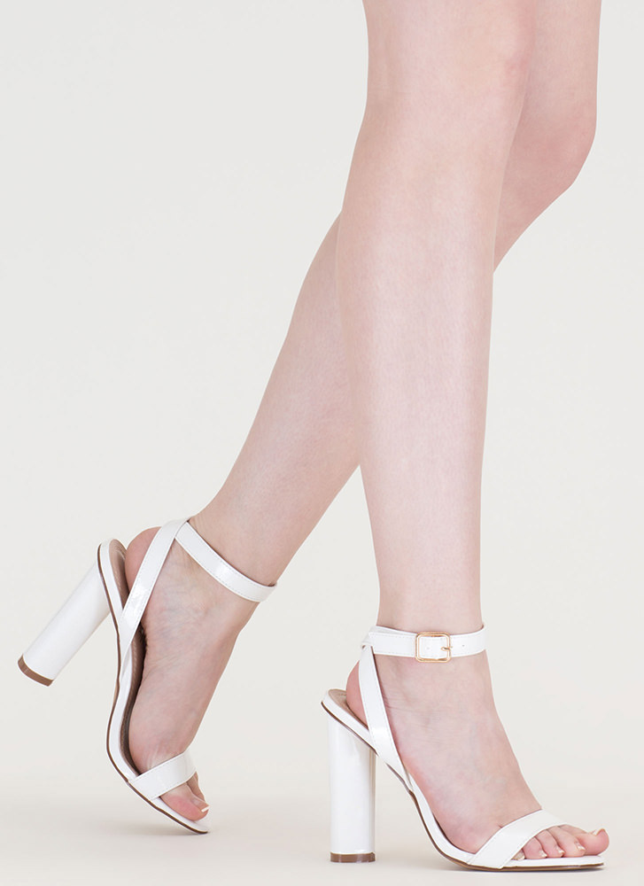 Tres Chic Strappy Faux Patent Heels WHITE