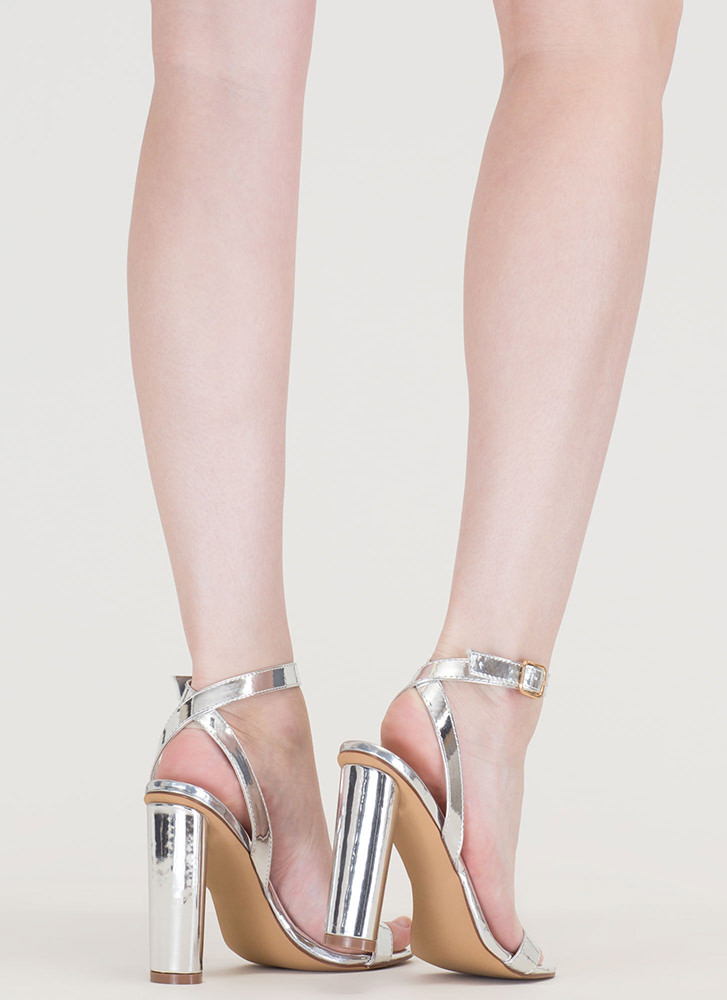 Tres Chic Strappy Metallic Heels SILVER