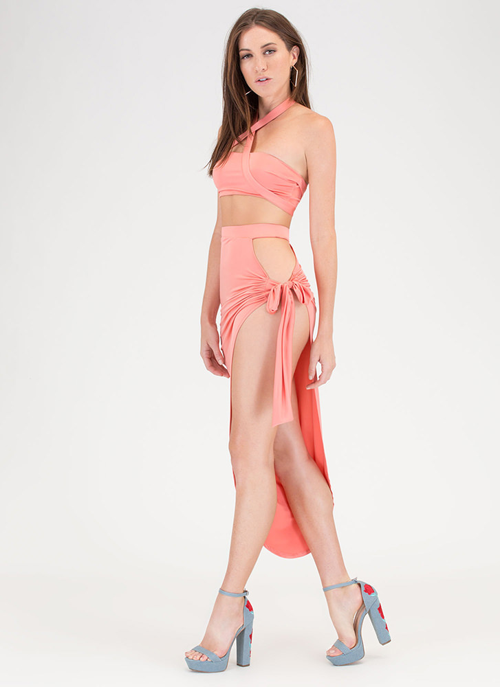 Hug A Curve Tied Two-Piece Dress CORAL