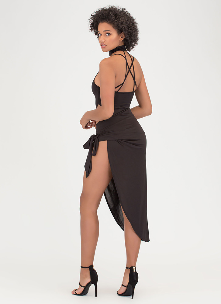 Turn The Tied Caged Asymmetrical Dress BLACK