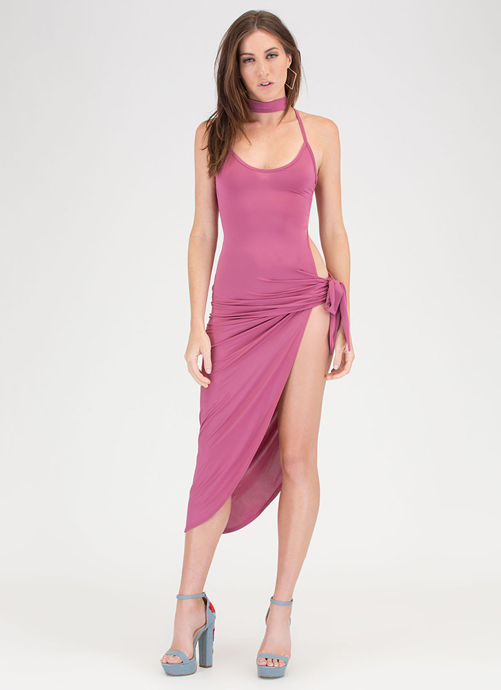 Turn The Tied Caged Asymmetrical Dress ROSE