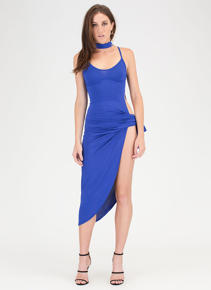Turn The Tied Caged Asymmetrical Dress ROYAL