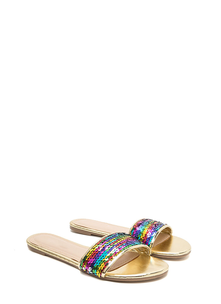 Over The Rainbow Sequin Slide Sandals RAINBOW