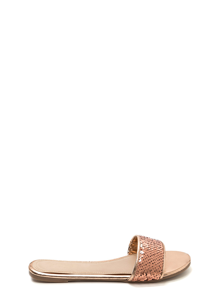 Style Icon Metallic Sequin Slide Sandals ROSEGOLD