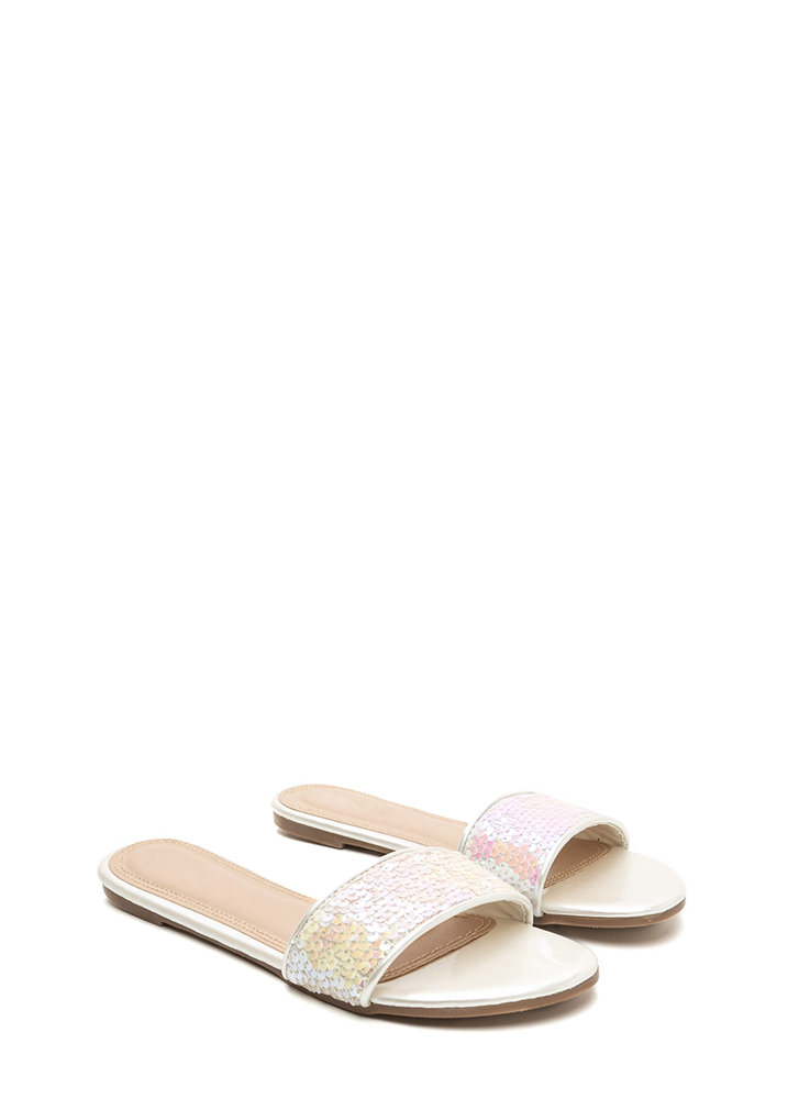 Style Icon Shiny Sequin Slide Sandals WHITE