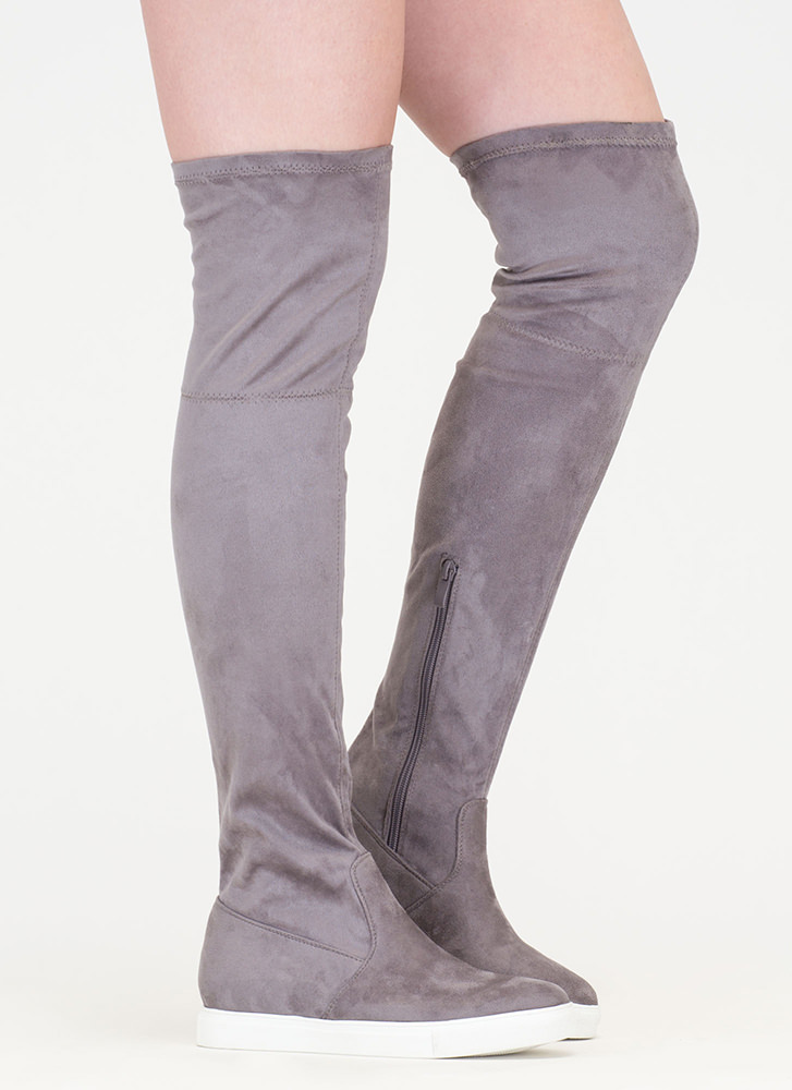 Go For It Faux Suede Thigh-High Boots GREY