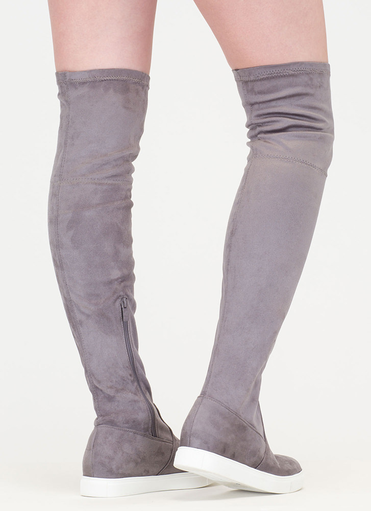 Go For It Faux Suede Thigh-High Boots GREY - GoJane.com