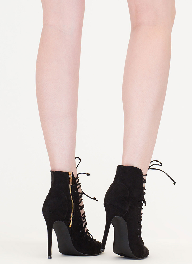 Day At The Laces Pointy Faux Suede Heels BLACK