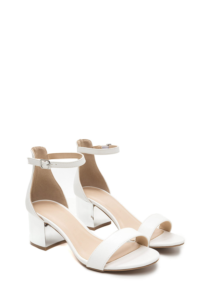 Glam Block Strappy Faux Leather Heels WHITE