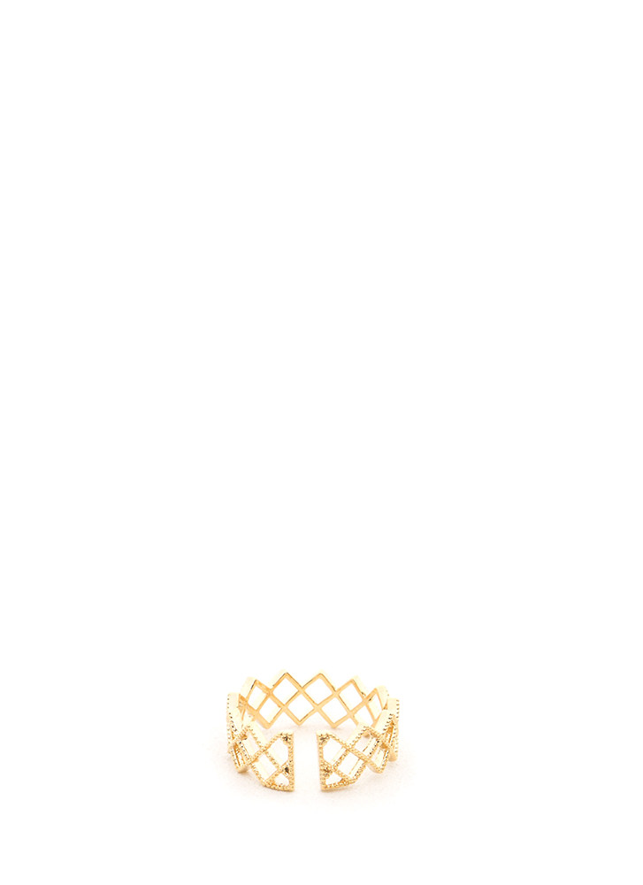 Jagged Edge Cut-Out Zigzag Ring GOLD