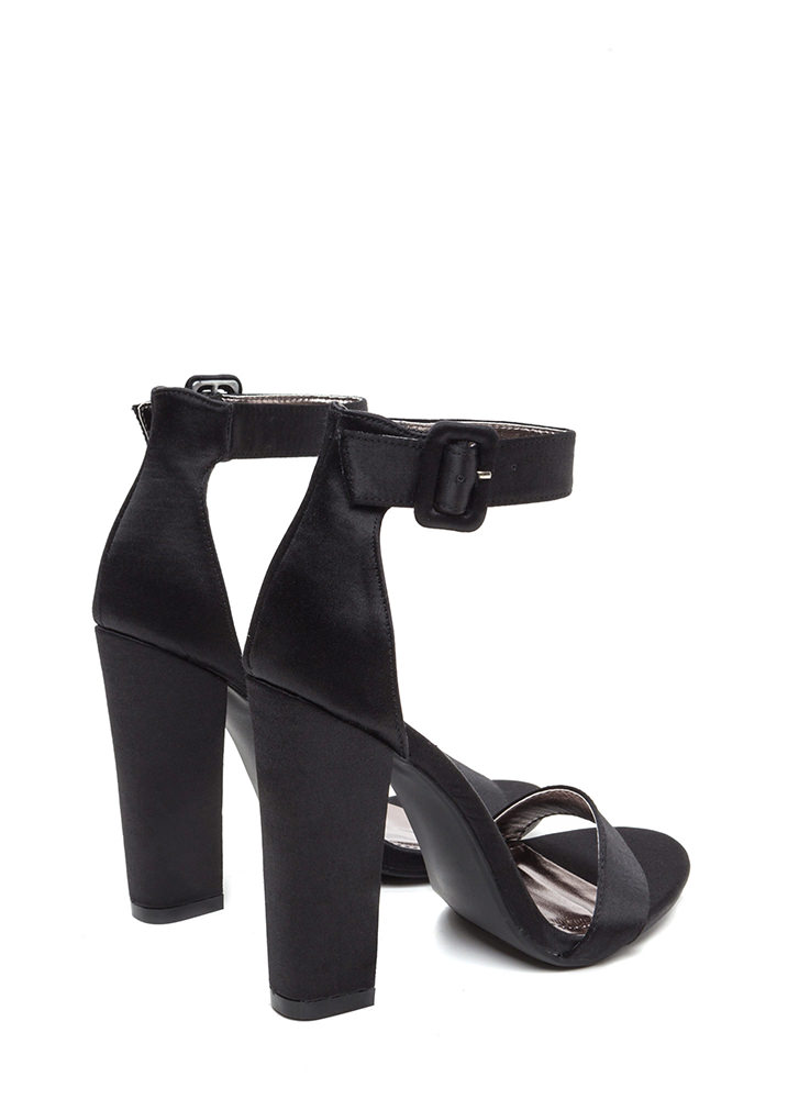 Evening Party Chunky Satin Heels BLACK