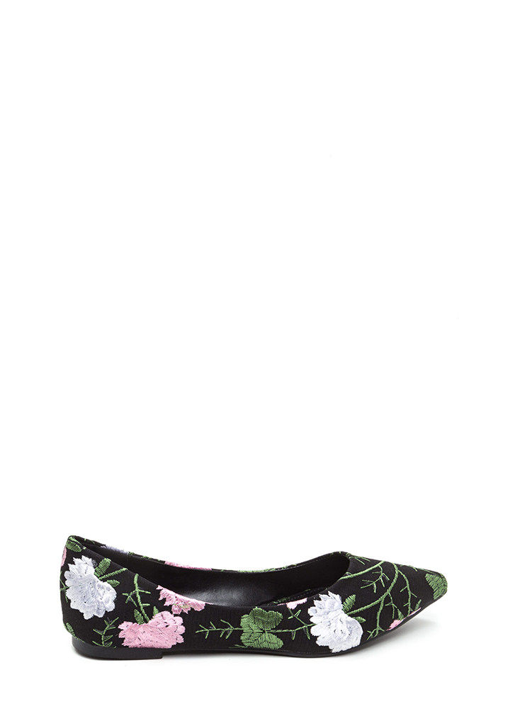 My Floral Lady Pointy Embroidered Flats BLACK