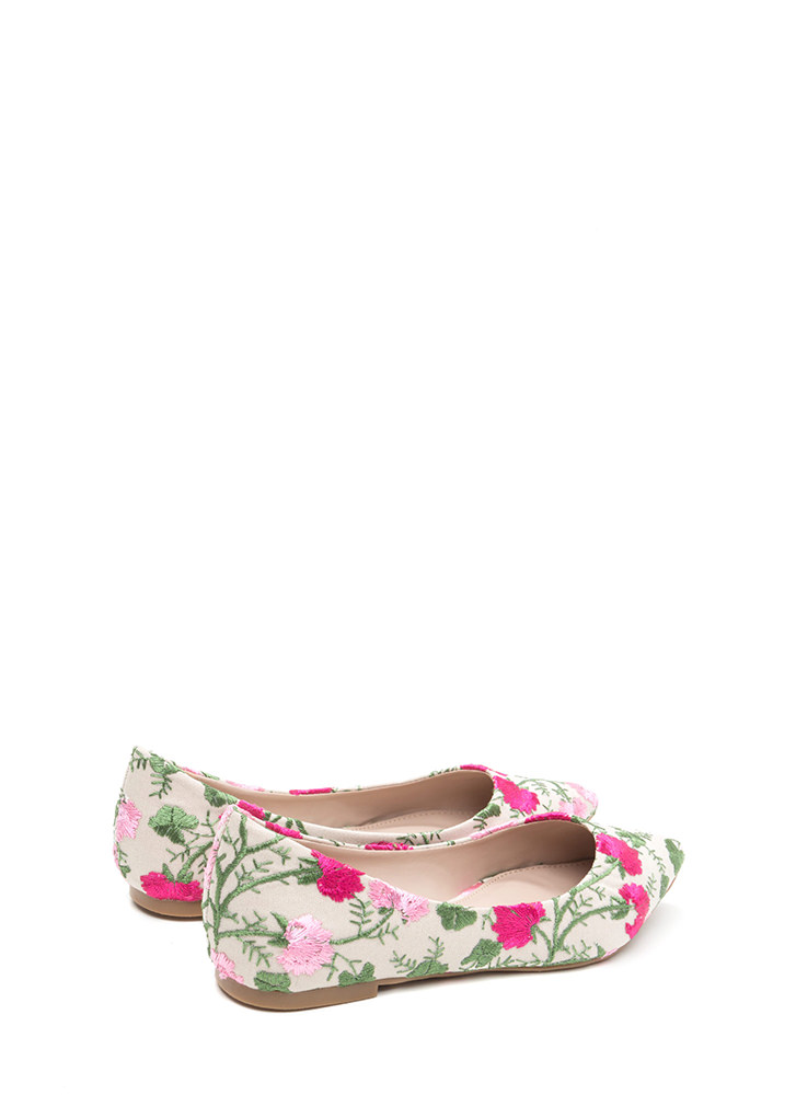 My Floral Lady Pointy Embroidered Flats NUDE