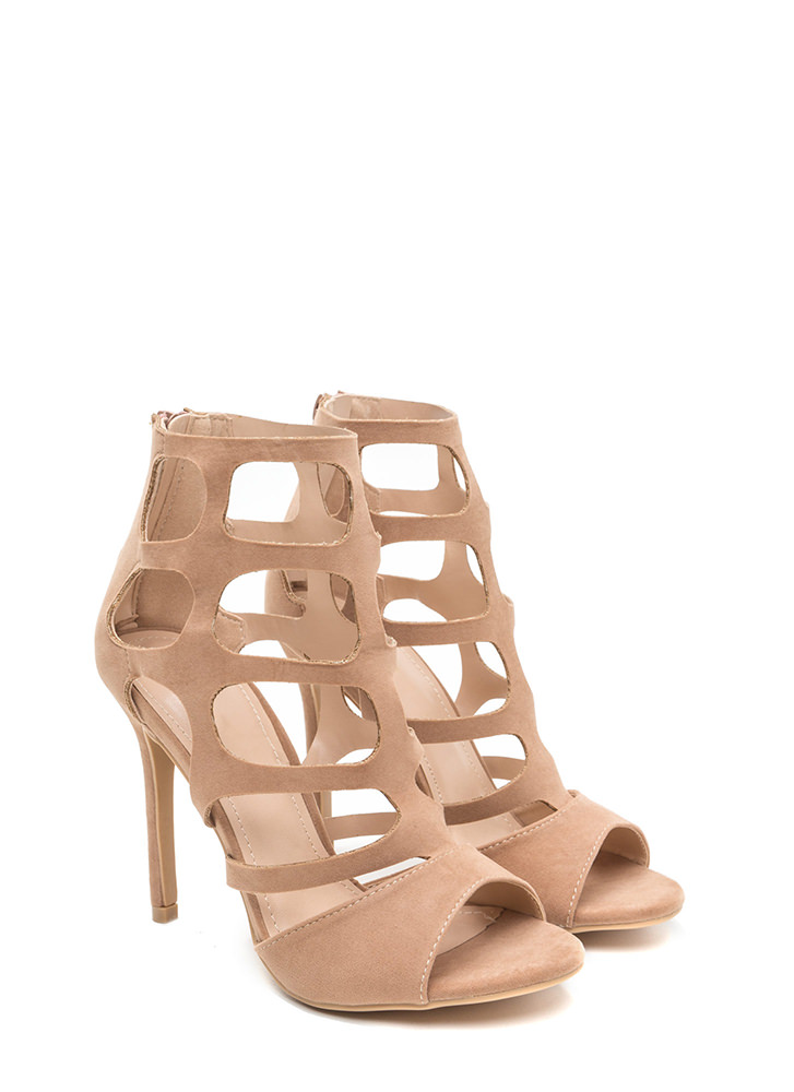Cage Match Faux Suede Stiletto Heels TAUPE