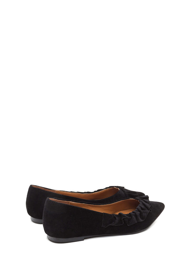 Regal Ruffle Pointy Faux Suede Flats BLACK