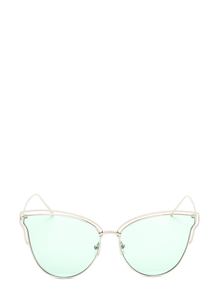 Sunny Disposition Cut-Out Sunglasses GREEN