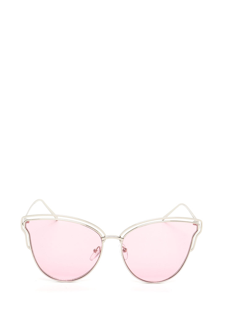 Sunny Disposition Cut-Out Sunglasses PINK