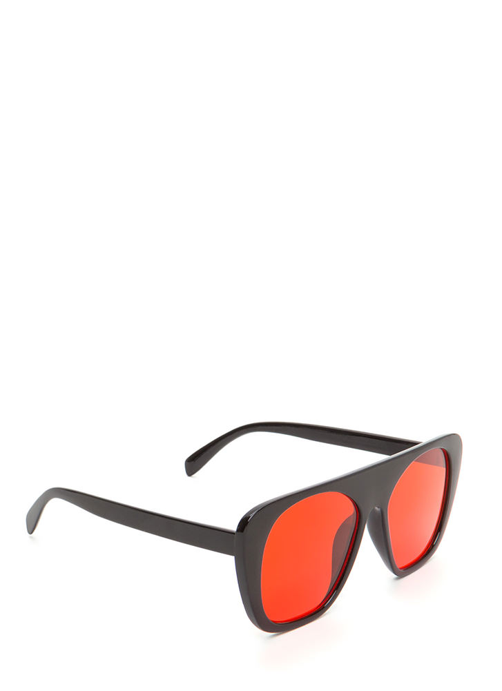 Cool Cat Tinted Retro Sunglasses RED