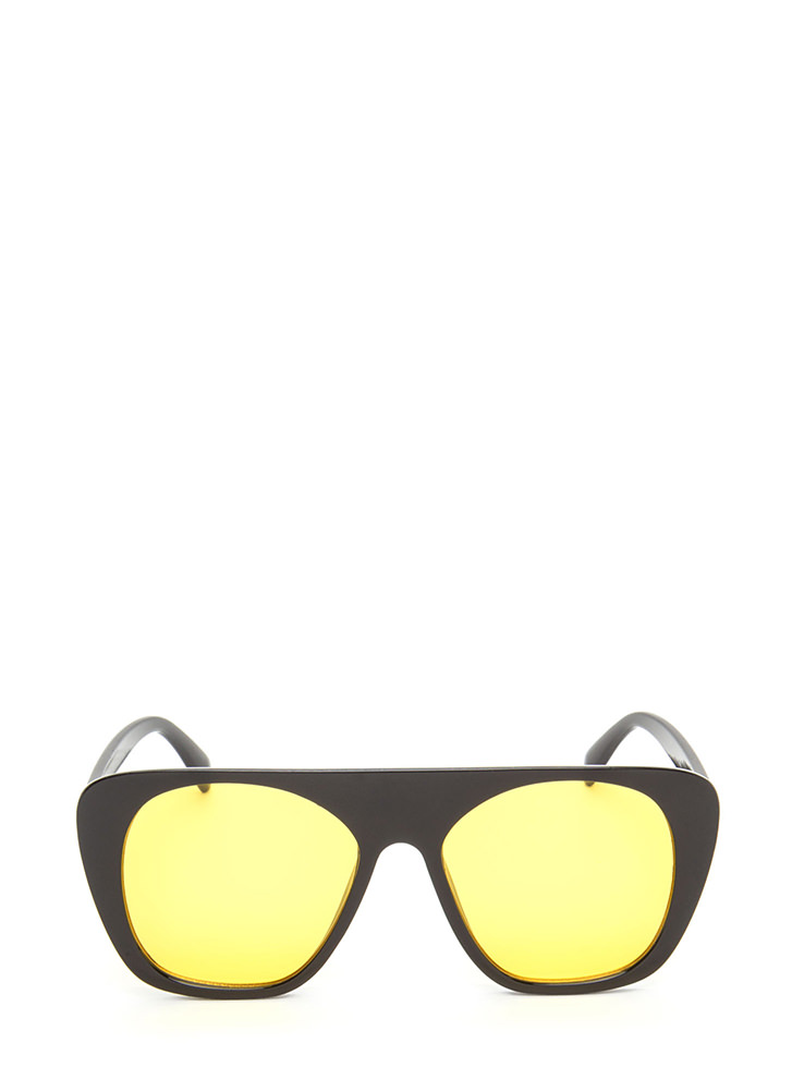 Cool Cat Tinted Retro Sunglasses YELLOW
