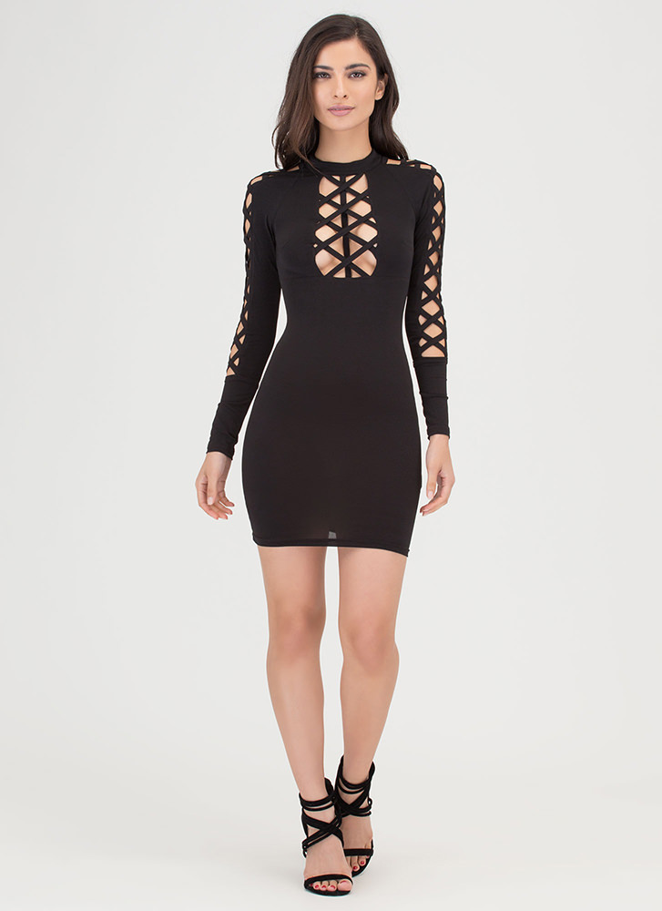 X Woman Strappy Cut-Out Caged Dress BLACK