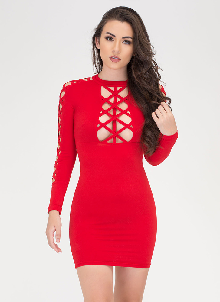 X Woman Strappy Cut-Out Caged Dress RED