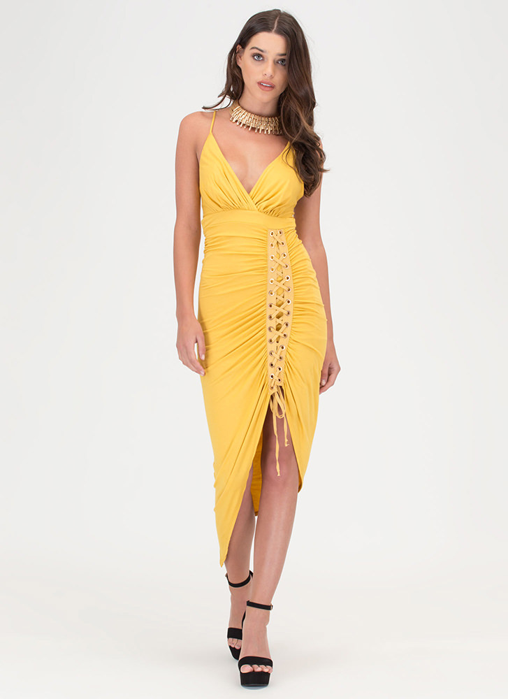 Party Lifestyle Ruched Lace-Up Dress MUSTARD