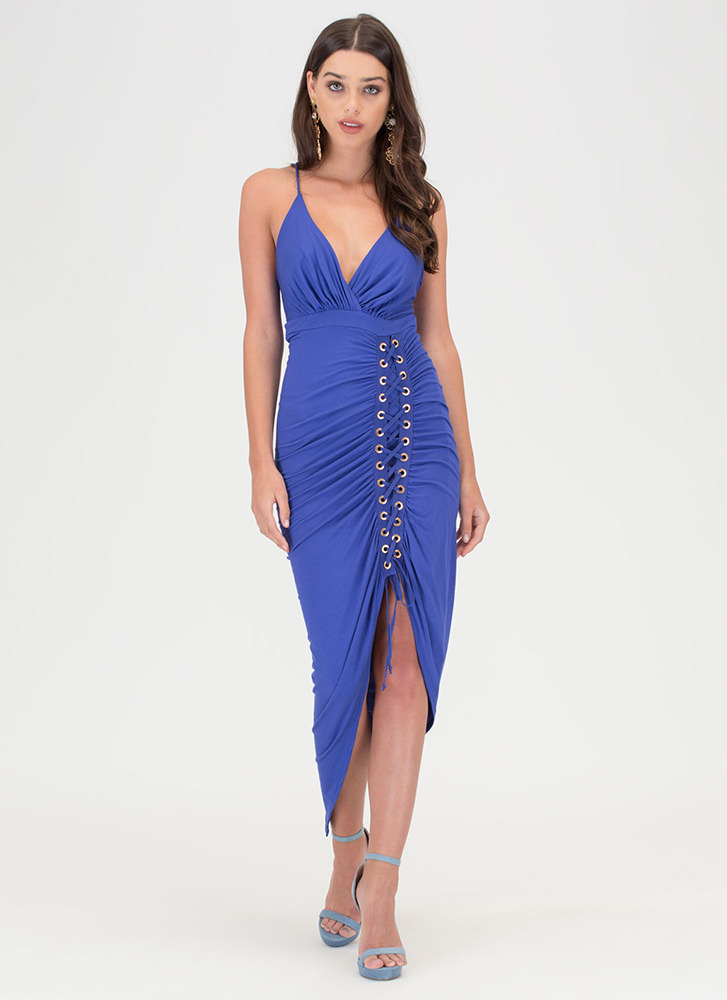 Party Lifestyle Ruched Lace-Up Dress ROYAL