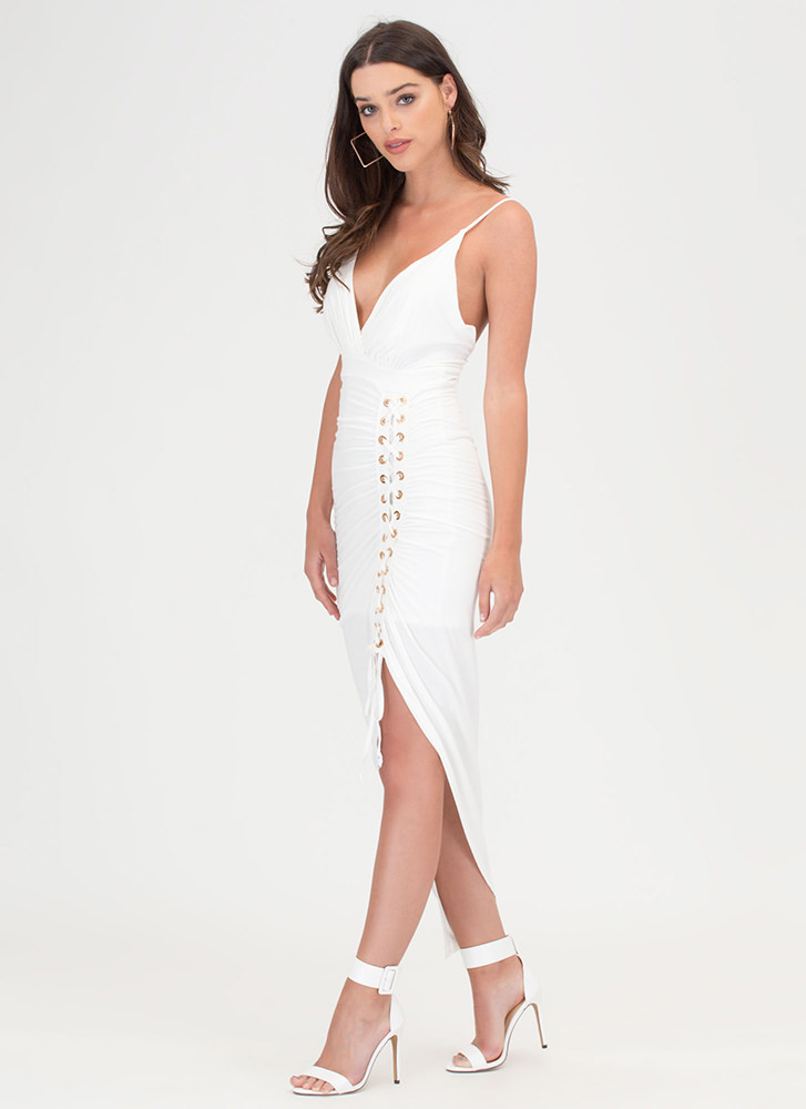 Party Lifestyle Ruched Lace-Up Dress WHITE