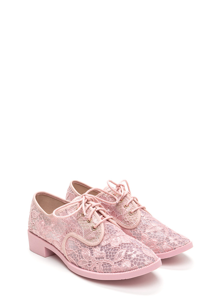 Lost In Lace Chunky Oxford Flats PINK