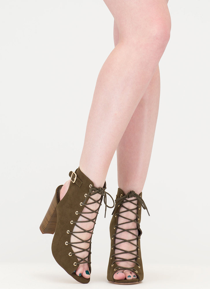 High Power Chunky Laced Faux Suede Heels OLIVE
