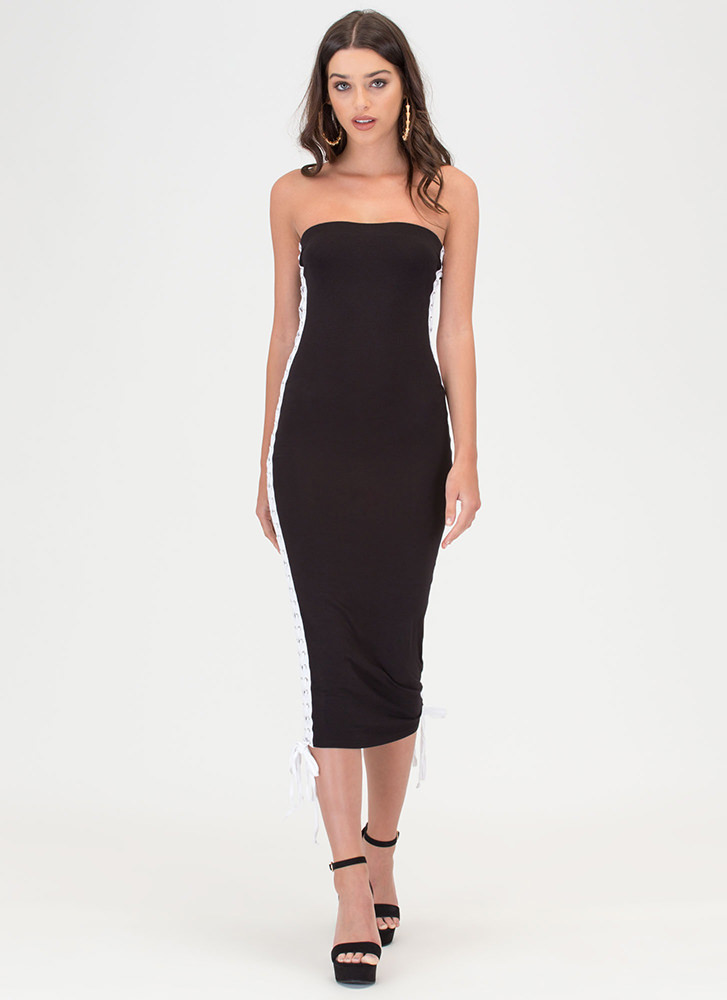 Laced The Game Slit Maxi Dress BLACK