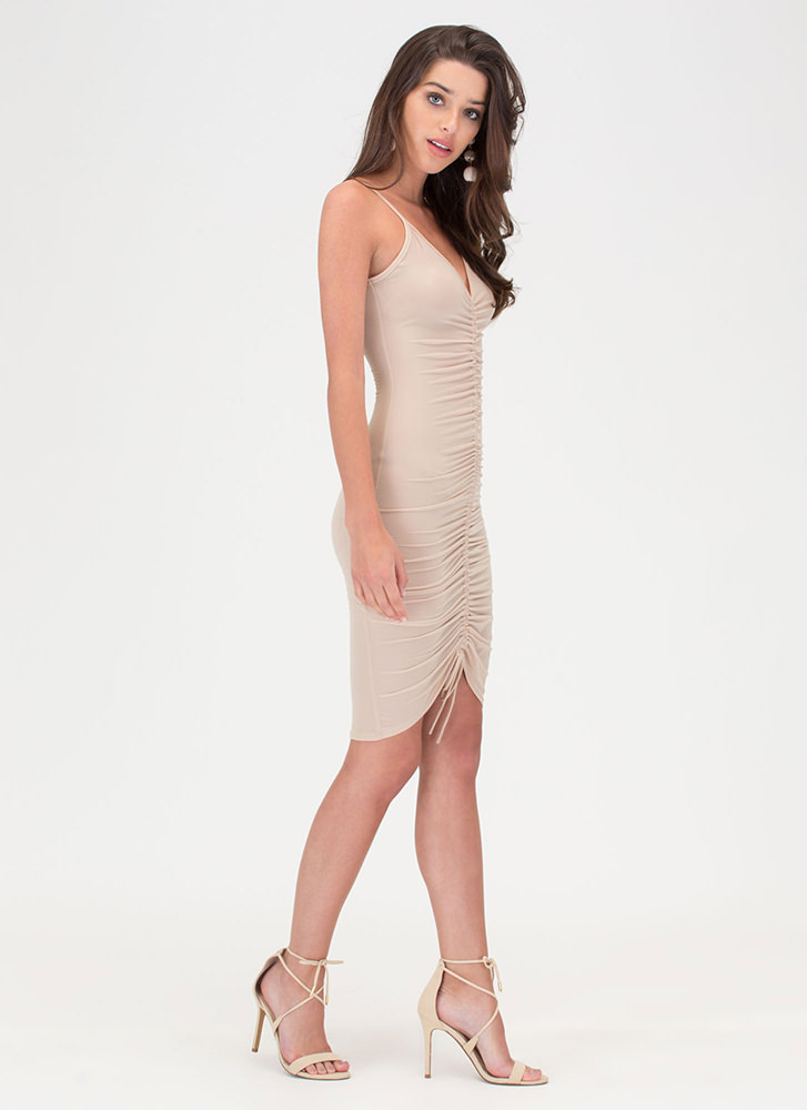 In A Ruche Sheer Mesh Bodycon Dress NUDE