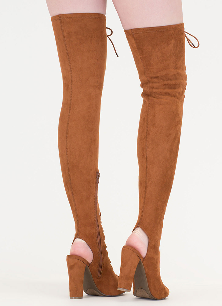 Style Mastermind Chunky Thigh-High Boots CHESTNUT