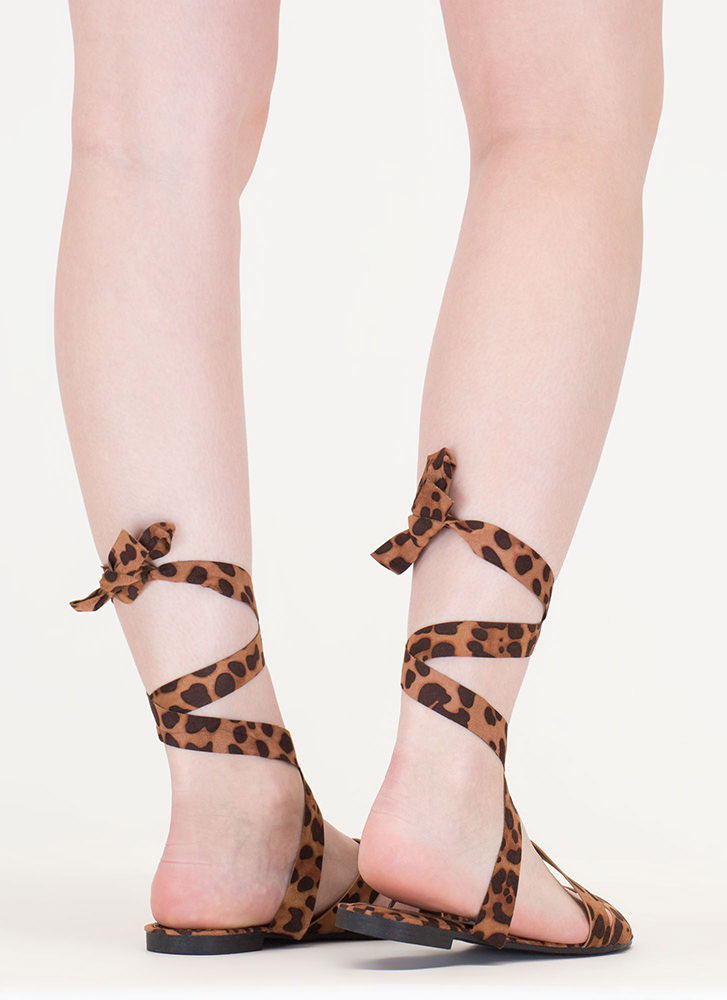 Tied And True Strappy Leopard Sandals LEOPARD